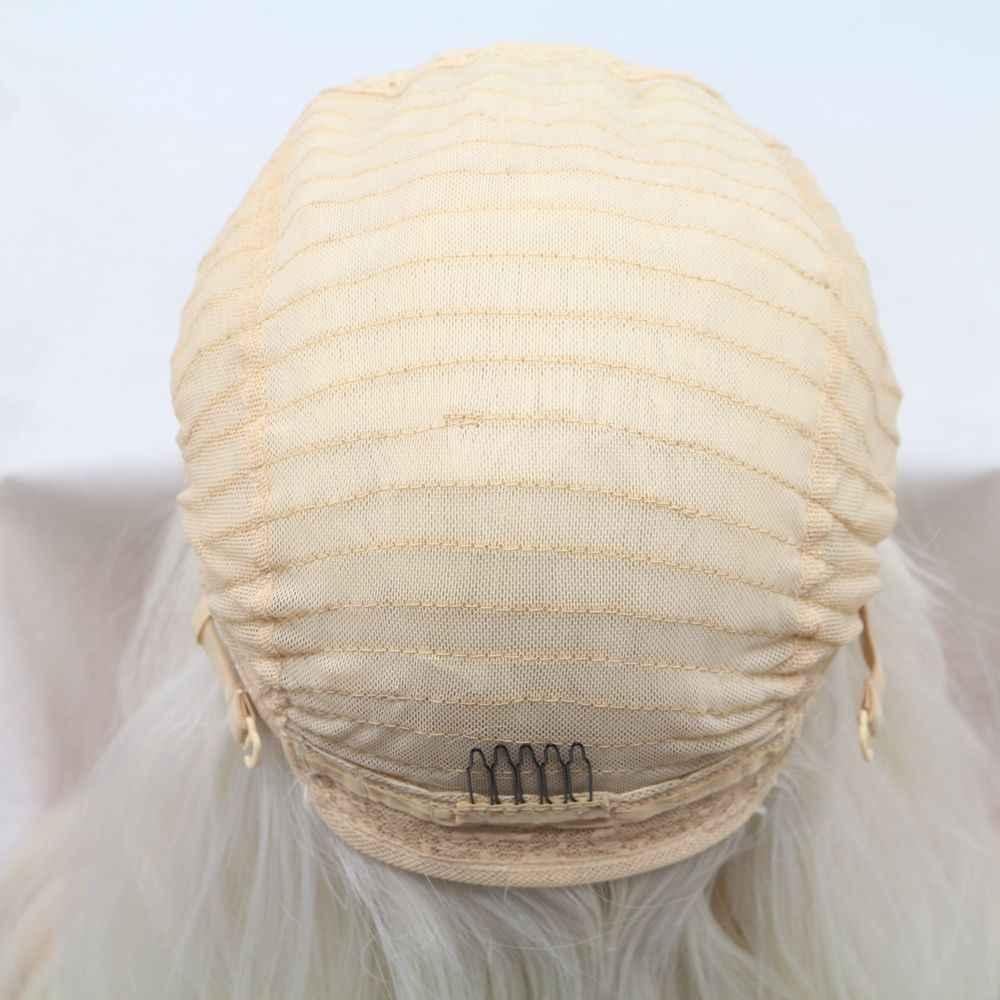 Sylvia Platinum włosy blond maszyna wykonane peruki dla kobiet środkowa część długie ciało fala peruki syntetyczne impreza z okazji halloween Cosplay peruki