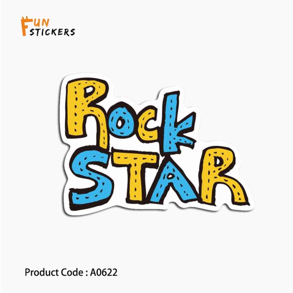 Rock star cartoon creative text simple logo waterproof sticker toy laptop  mobile phone guitar skateboard luggage sticker A0622