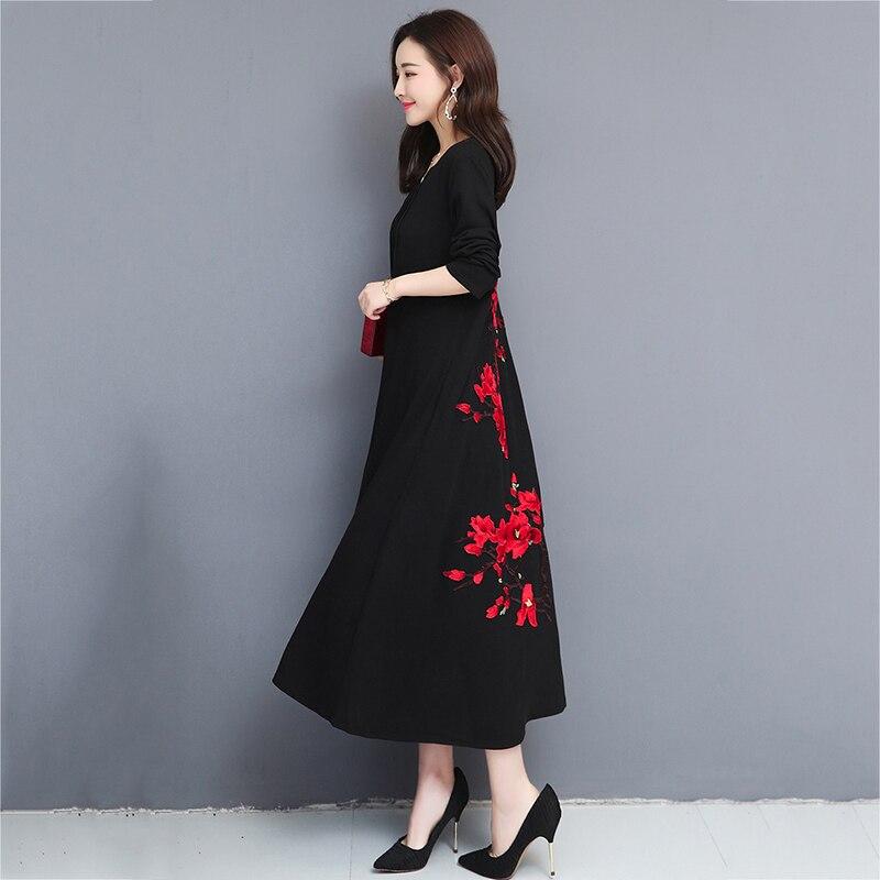 Grandes tailles imprimer femmes robes 2019 printemps automne grande taille lâche robe femme longue grande taille robe femmes vêtements 4XL 5XL