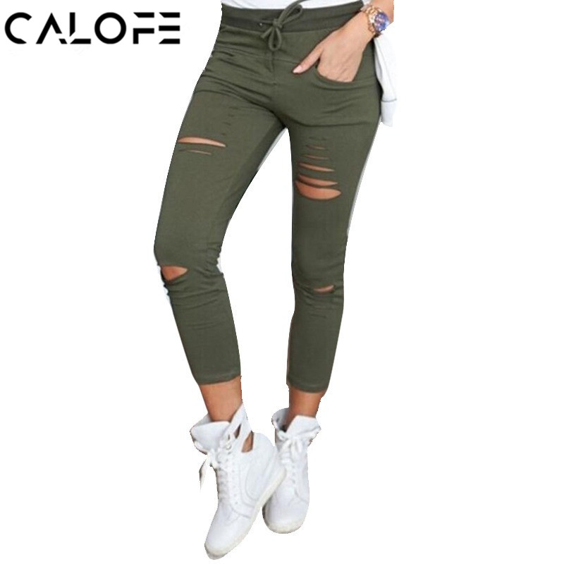 CALOFE Women Skinny Pant Sexy Holes Knee Pencil Pant Summer Female High  Waist Trouser Stretch Ripped f583d76f2353