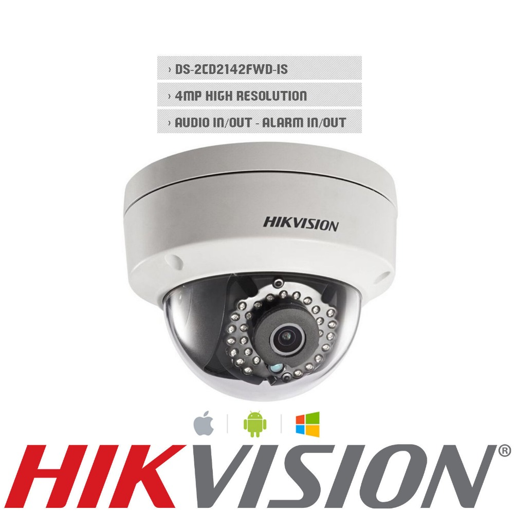 In stock Free shipping English version DS 2CD2142FWD IS 4MP mini dome network cctv camera P2P