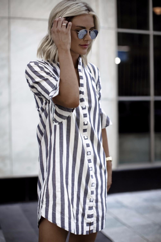 summer Women blouses Horn Sleeve Striped Half Sleeve Tops Long girl Blouse Ladies striped trumpet sleeves female  long shirt top