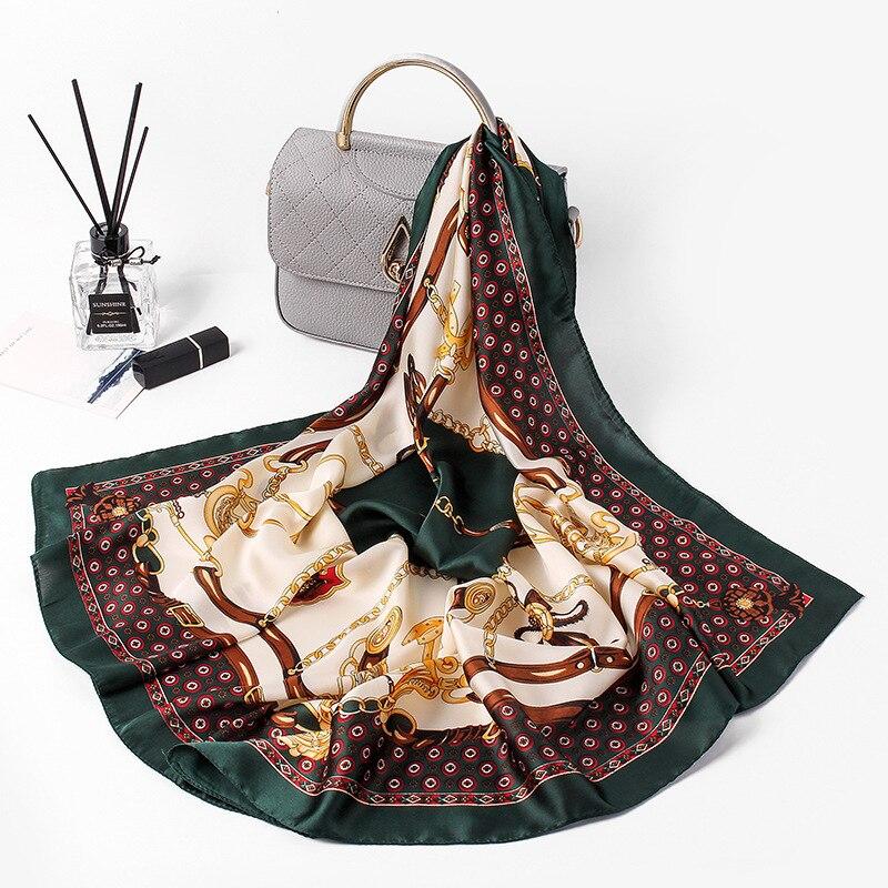 Hijab Scarf Women's Head Scarf 2018 New Luxury Brand Square 70*70cm Women Silk Head Beach Shawls Wraps Pashmina Towel FJ091