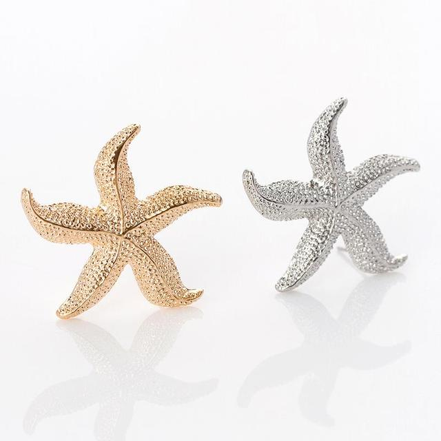 Sweet Starfish Earrings Stud Personalized Gold Silver Star For Women Fashion Jewelry Casual Accessories