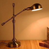Спальня настольная лампа исследование прикроватные Американский сельских ретро античная медь Настольная лампа Европейский стиль Творчес