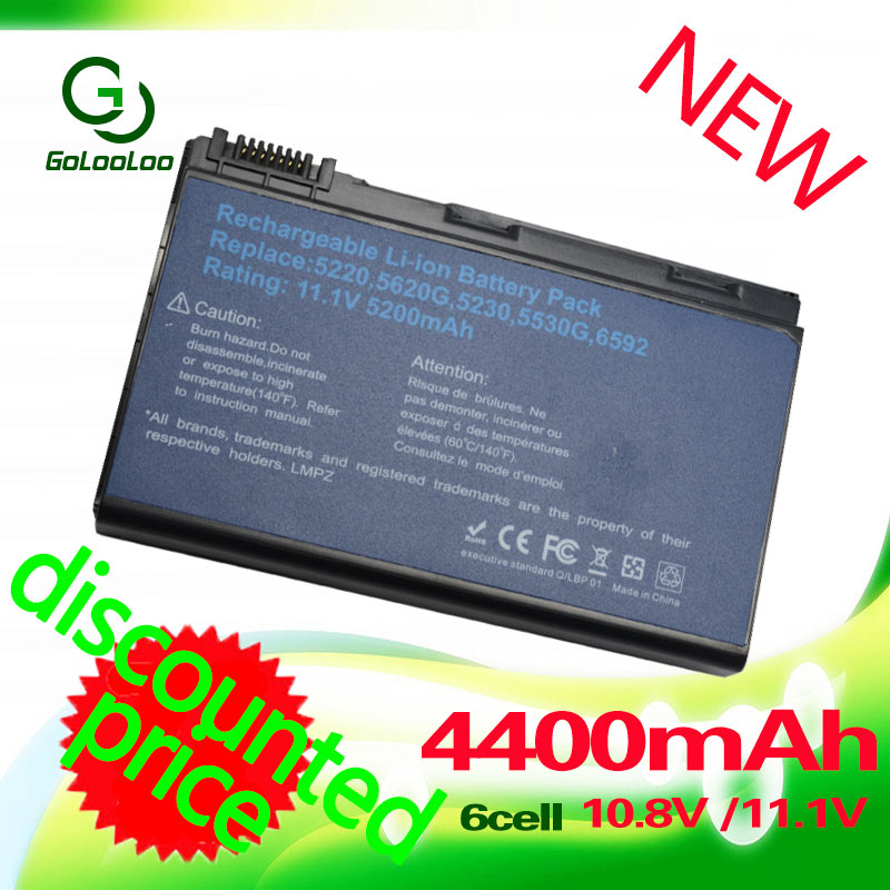 Golooloo 4400MaH <font><b>Battery</b></font> for <font><b>ACER</b></font> Extensa 5220 5230 5620 7620 <font><b>5210</b></font> 5420 5610 7220 5630 for TravelMate 5720 5320 5230 5530 5710 image