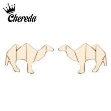 Chereda Cute Camel Stud Earrings Female Silver and Gold Cartoon Earring for Women Party Wedding Jewelry Present