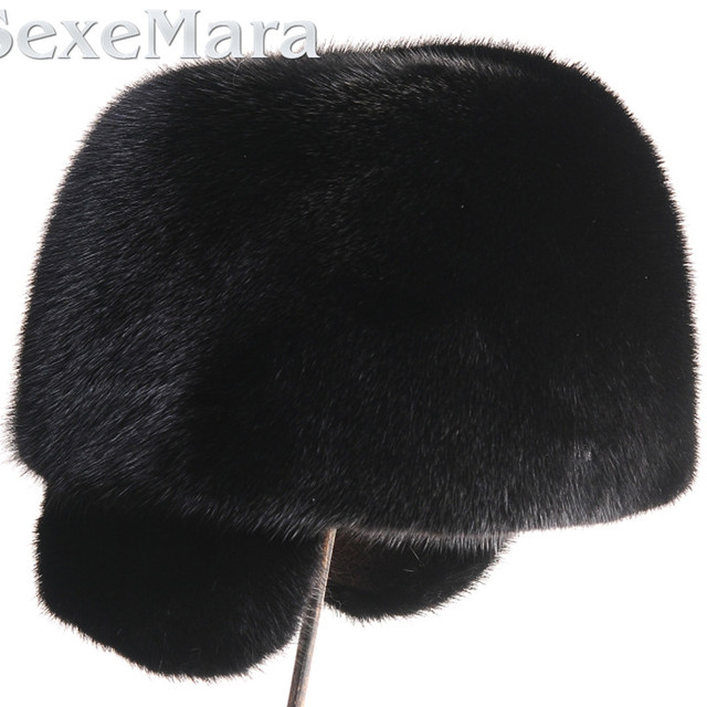 Men's mink hat male models plus Lexus ear cap fur mink fur hat with ear warmer really