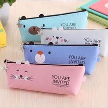 Kawaii Cute animal Oblique triangle Pencil Bag papelaria PU Case stationery material escolor school supplies Pen Bags