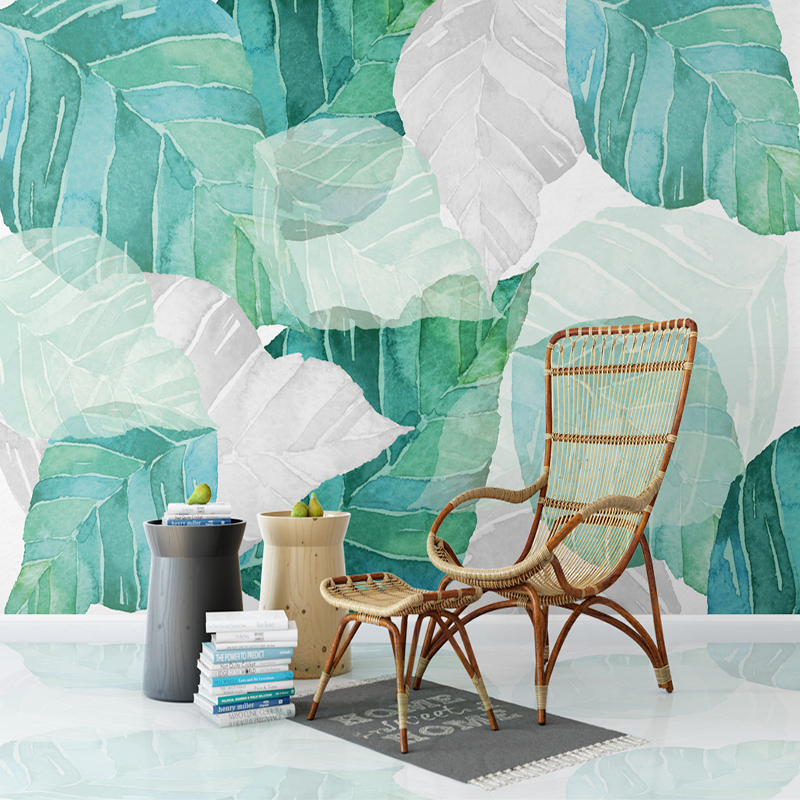 Custom Any Size 3D Mural Wallpaper Nordic Modern Simple Watercolor Tree Leaf Living Room Bedroom Interior Decor Mural Wall Paper