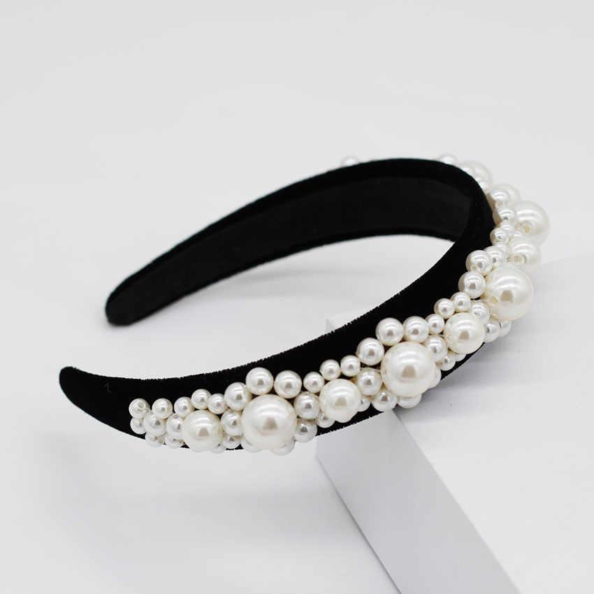 Perle bandeau luxe Baroque couronnes diadèmes de mariage bijoux de cheveux perles velours bandeaux de mariée accessoires de cheveux chapeaux