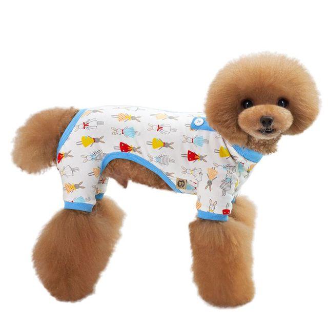 Dog Pajamas 2017 Pet Dog Clothes Spring And Summer Cartoon New Tracksuit  Cute Little Fresh Pajamas