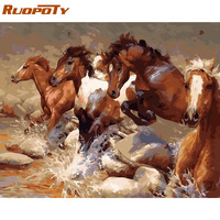RUOPOTY Frame Running Horse Animals DIY Painting By Numbers Kits Coloring By Numbers Acrylic Paint On Canvas For Home Decor Arts