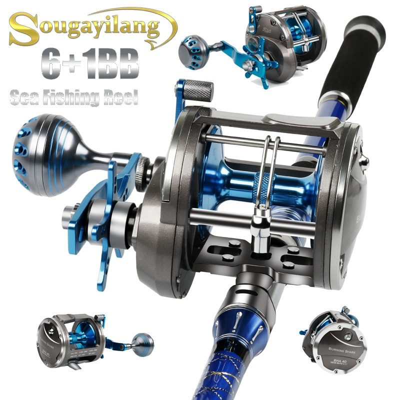 Sougayilang Trolling Reel Baitcasting Reel Saltwater Level Wind Reels Carp Fishing Gear Boat Casting Fishing Reel Max Drag 43LB trolling reel 9 1bb drum wheel carp baitcasting reels centrifugal brake casting saltwater fishing reel super power drag 30kg