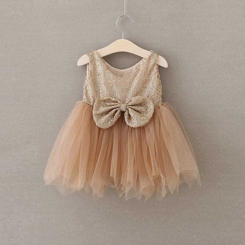 Babys Big Bow TUTU Dress Summer Gold Party Dress Toddle Girls Sequined Princess Dress Sleeveless Elegant Kids Clothes