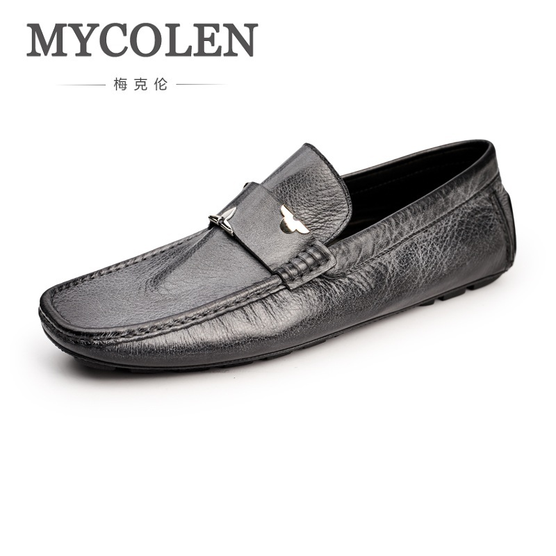 MYCOLEN New Casual Mens Shoes Genuine Leather Men Loafers Moccasins Fashion Low Slip On Men Flats Shoes Mocassin Homme цены онлайн