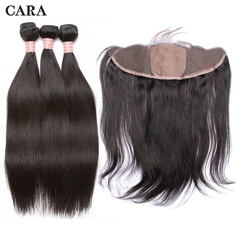 Человеческих волос BundlesWith Кружева Фронтальная застежка 3 бразильский пучки волос плетение Шелковый База Кружева Фронтальная застежка прям