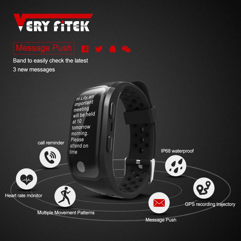 VERYFiTEK V7 Smart Fitness Bracelet IP68 Waterproof Smart Band Heart Rate Monitor Wristband GPS Tracker Pk S908 Sports Bracelet