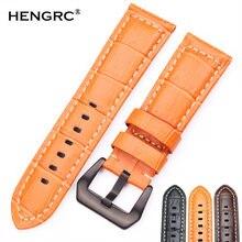 Hengrc Ремешки для наручных часов 22 мм 24 мужчин коричневый