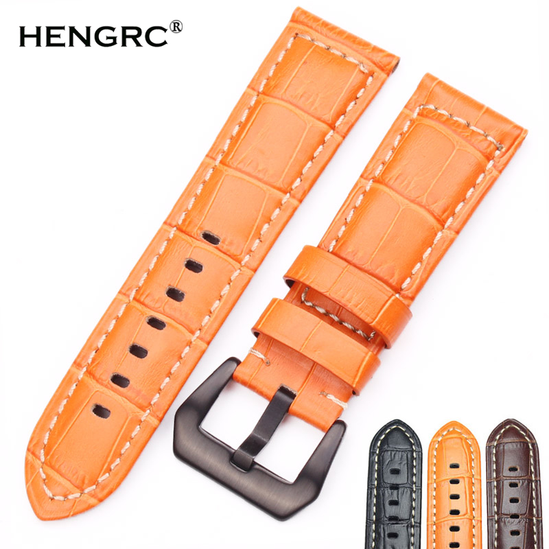 HENGRC Urbånd 22mm 24mm Mænd Brun Sort Orange Tykke Ægte læderurremrem til Panerai Watch Accessories