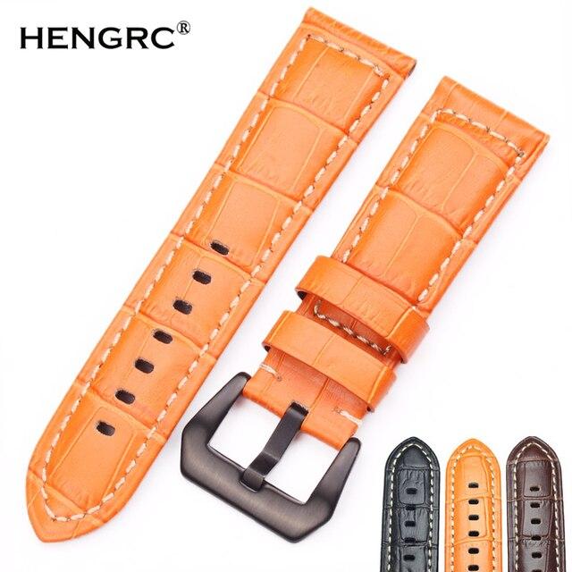 HENGRC Watchbands 22mm 24mm Men Brown Black Orange Thick Genuine Leather Watch B