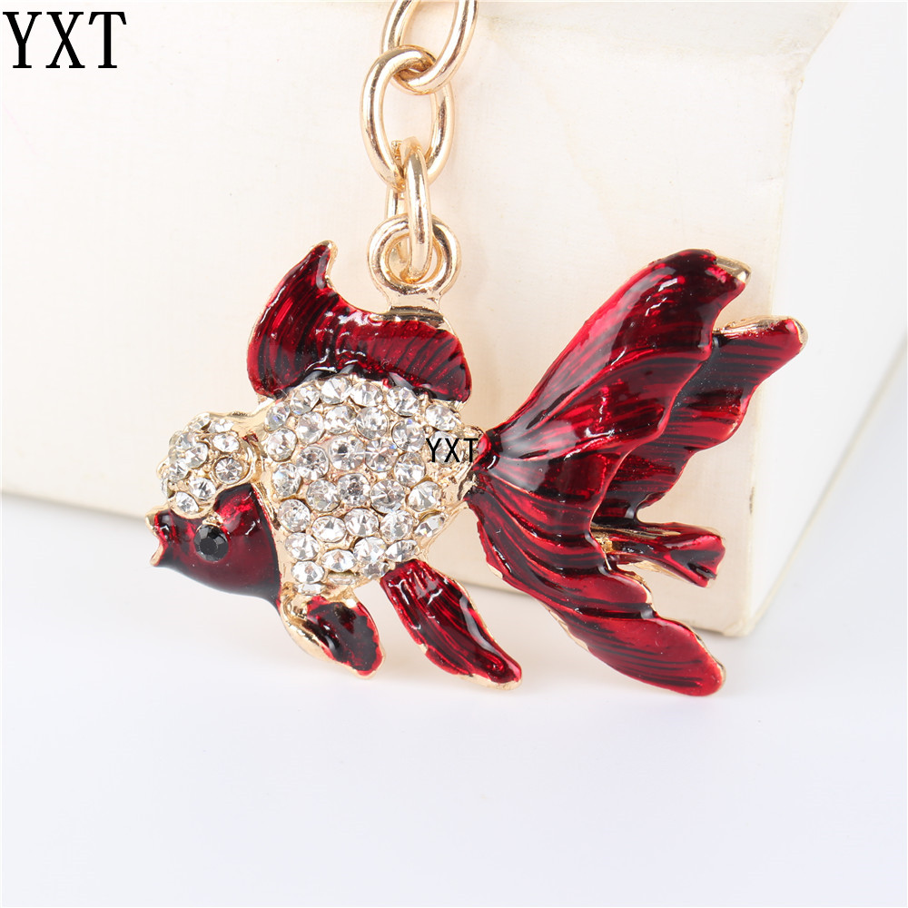 Lovely Red Goldfish Cute Crystal Charm Purse Handbag Car Key Keyring Keychain Party Wedding Birthday Friend Lover Gift image