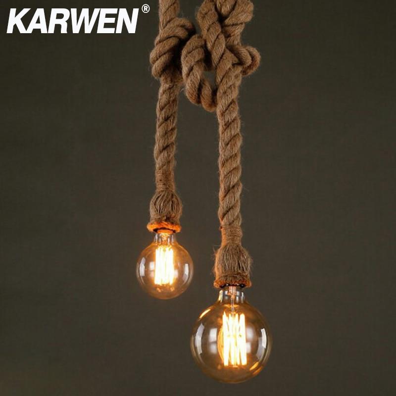 Vintage Hemp Rope E27 Pendant Lamp Base 1m 1.5m 2m 2.5m 3m 85-265V Loft Industrial Retro Hanging Edison Filament Pendant Light