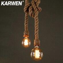 Cuerda de cáñamo Vintage E27 Base de lámpara colgante 1m 1,5 m 2m 2,5 m 3m 85-265V Loft Industrial retro lámpara colgante de filamento Edison