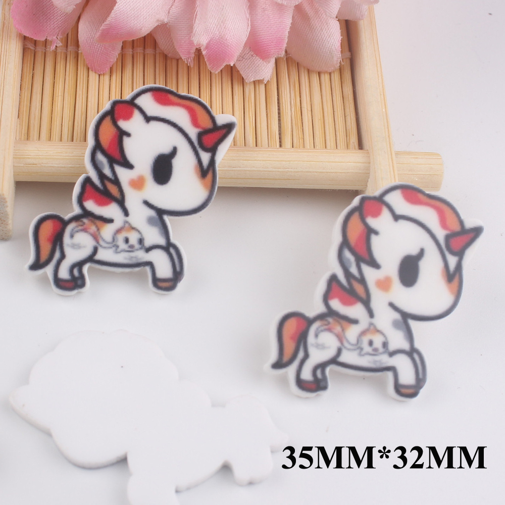 50pcs/lot 35*32MM Kawaii Cartoon Unicorn Flat Back Resins For Hair Bow Accessories Horse Planar Resin DIY Craft Decoration FR047
