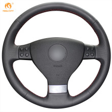 MEWANT Black Genuine Leather Car Steering Wheel Cover for Volkswagen Golf 5 Mk5 VW Passat B6 Jetta 5 Mk5 Tiguan 2007-2011
