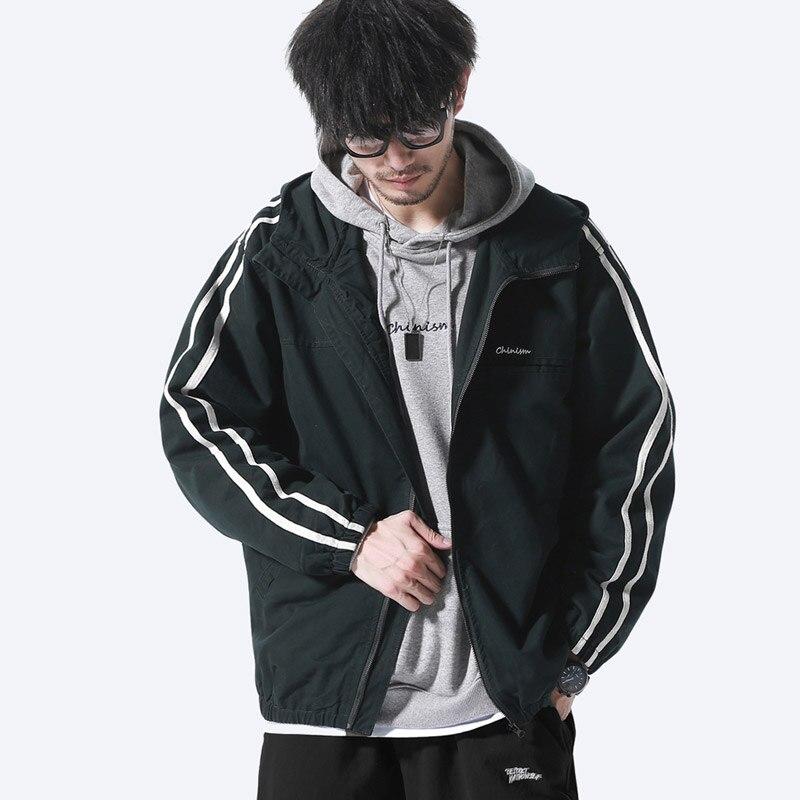 Chaqueta Ropa Coreano Jóvenes Green Estilo Deportiva Abrigo Blackish Casual Accidente Capucha Con De Hombres 2019 Nuevo Los 8HYgqg