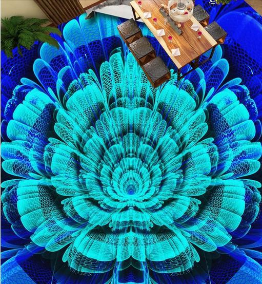 3d Photo Wallpaper Customize Gorgeous Blue Floor Living Room Flowers Tiles Mural