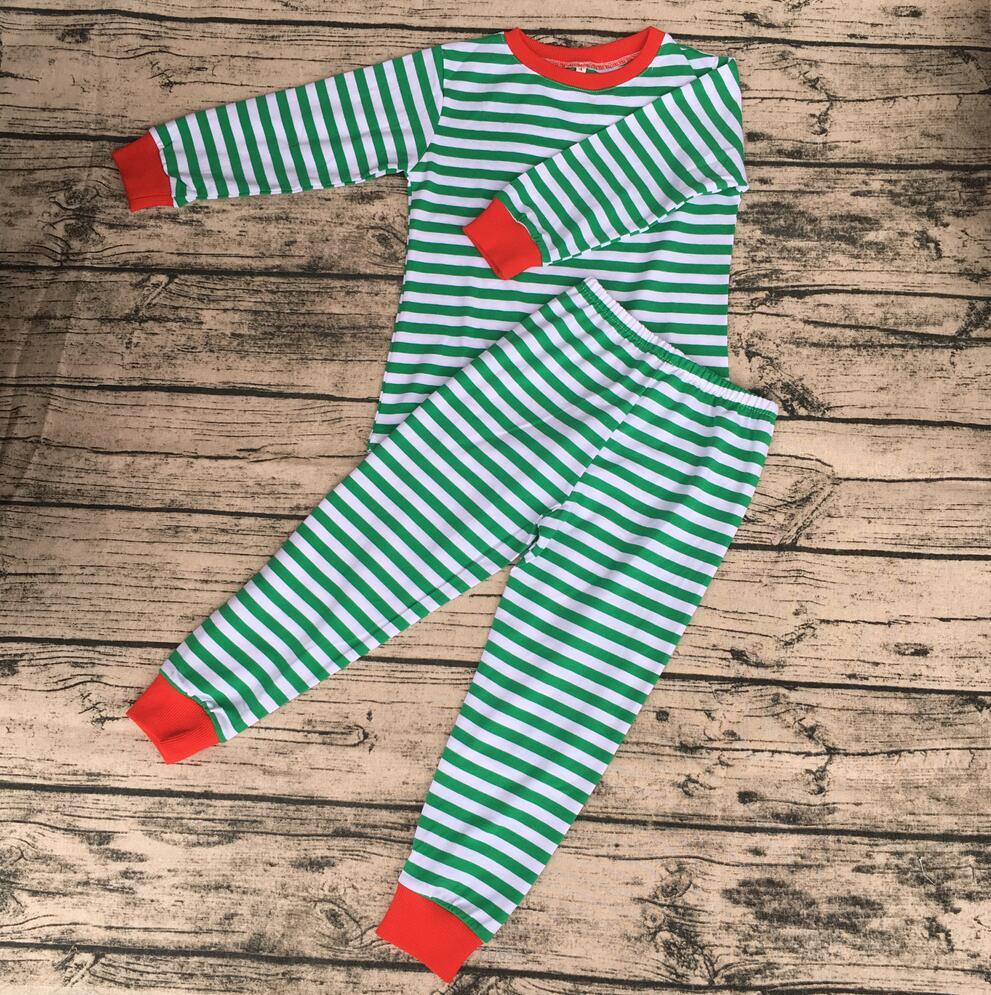 Wholesale Girls Christmas pajamas green stripe long sleeve hot style children boutique sleepwear suits