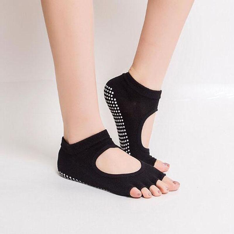 3 pairs Women glued anti slip yoga socks breathable cotton five toe sports socks elastic one size for US 4.0-8.0/UK 2-5.5