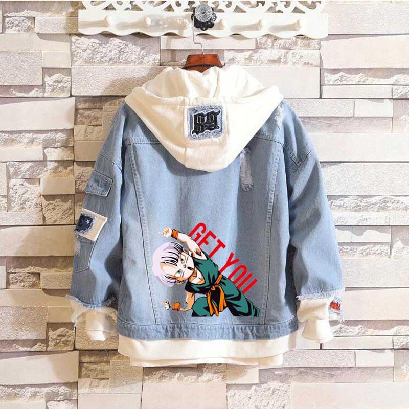 Coshome Anime Dragon Ball Son Goten Trunks Hoodie Spring Denim Jacket Men Women Couple Coat Streetwear (3)