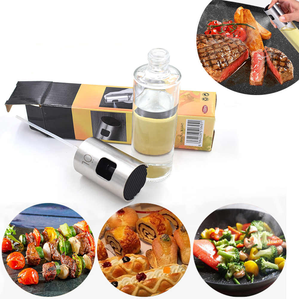New spray stainless steel glass oil bottle vinegar bottle kitchen oil can cook barbecue fried kitchen tools