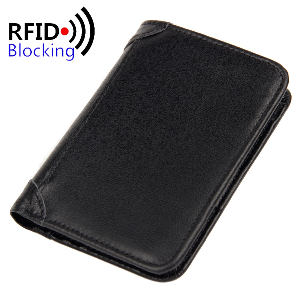 100% Genuine Leather Wallets for Men Vintage Real Leather Luxury Short RFID Blocking Bifold Wallet Brand Designer Cowhide Purse