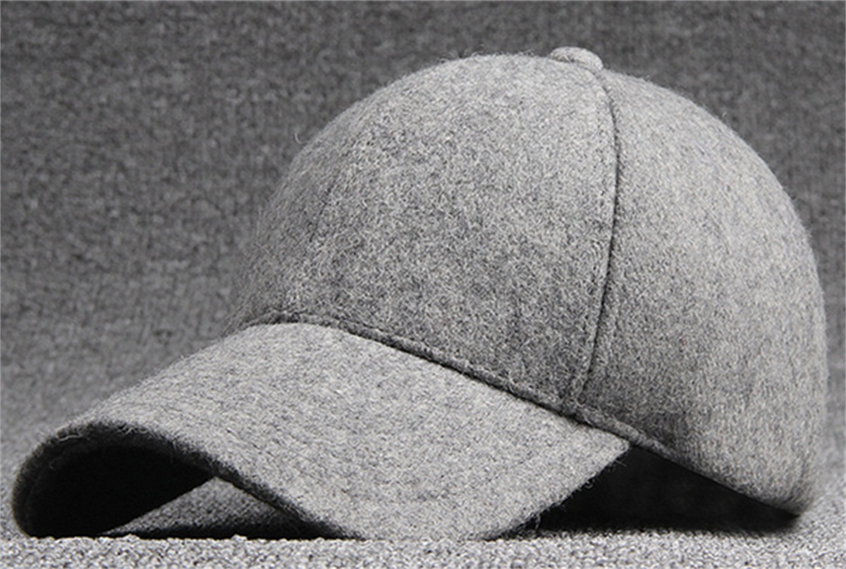 6pcs lot Brand Men Winter Blank Baseball Hats Women Plain Black Wool  Blended Base Ball Caps Mens Autumn Warm Solid Grey Ball Cap b085b071cb