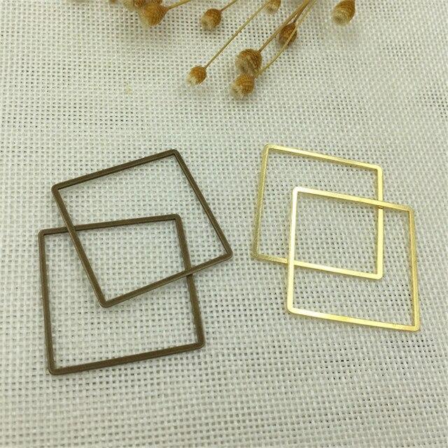 MAR MEW 10PCS 35mm * 1mm Conectores de Cobre Escavar Quadrado 3 Cores Encantos Moda Estilo Para fazer jóias