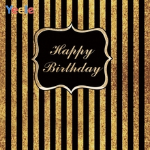 Yeele Happy Birthday Party Photocall Stripes Gold Photography Backdrops Personalized Photographic Backgrounds For Photo Studio