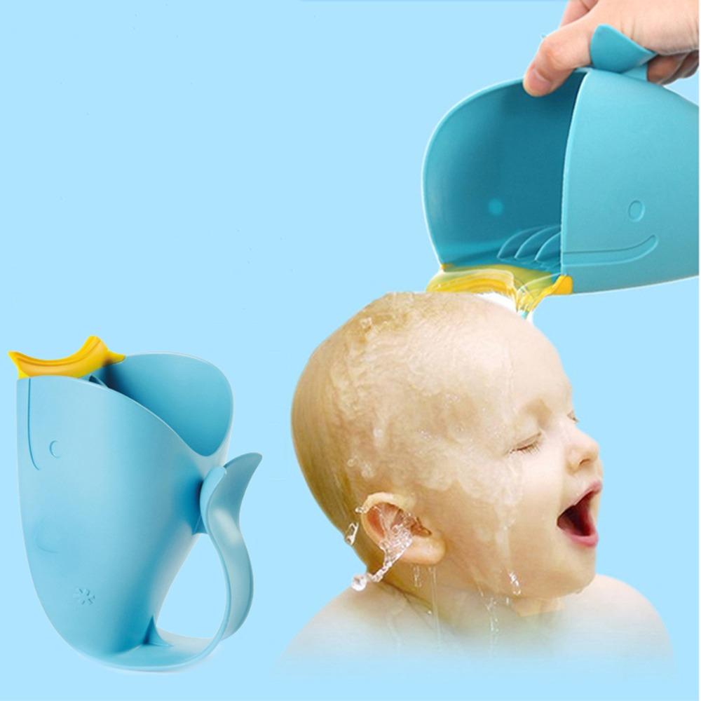 Silicone Baby Bath Children Cup Shampoo Cartoon Whale Shower Spoon ...