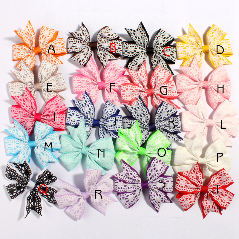 10PCS 8CM Lace Pattern Grosgrain Ribbon Bow With/Without Hair Clip Boutique Threaded Bows U Pick Color