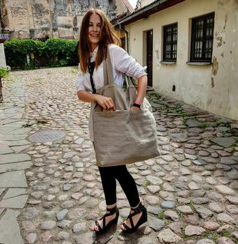 Large ECO Fashion Durable Women Student Cotton Linen Single Shoulder Bag Shopping Tote Flax Canvas Shopping Bags 2