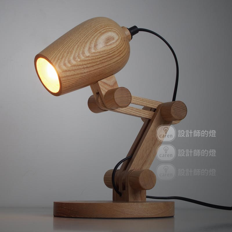 Loft American Vintage Wooden Shade Handmade Wood Led Night Table Lamp Desk Lighting Modern Bulb Light Decor 110 240v