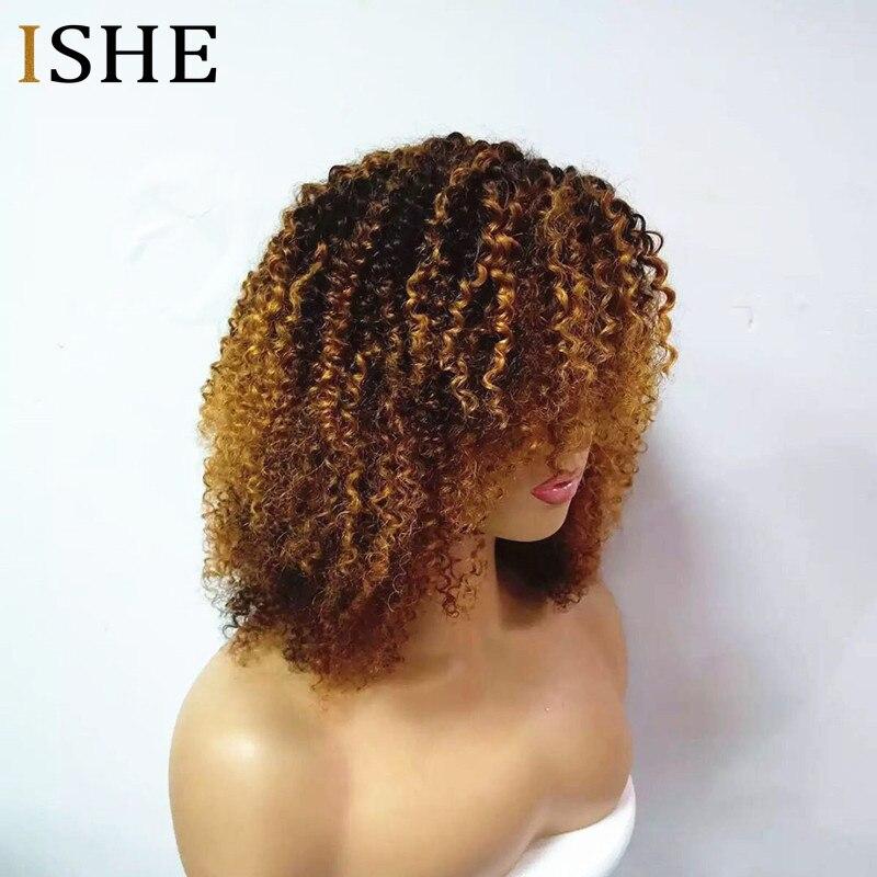 250% плотность афро кудрявый вьющиеся эффектом деграде (переход от темного к 1b 30 13x6 Синтетические волосы на кружеве человеческие волосы парик... - 2