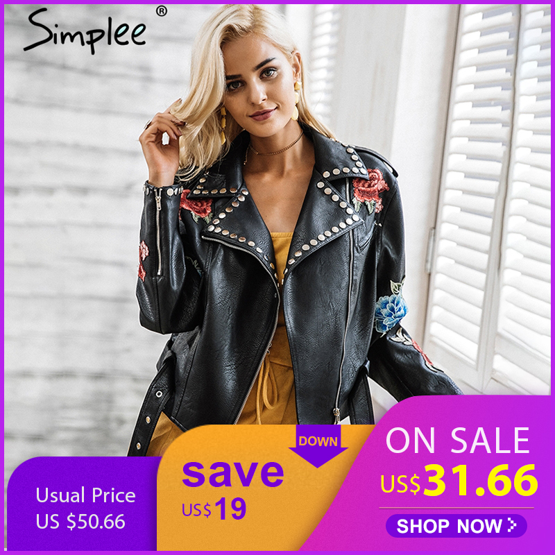 Simplee PU leather appliques floral rivet women basic jackets Streetwear black zipper outerwear Autumn winter faux