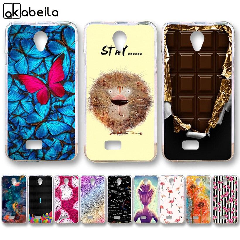 AKABEILA Soft TPU Silicone Phone Cases For Fly IQ4416 Fly quad Era Life 5 IQ 4416 life5 4.5 inch Covers Nutella Flamingo Tetris