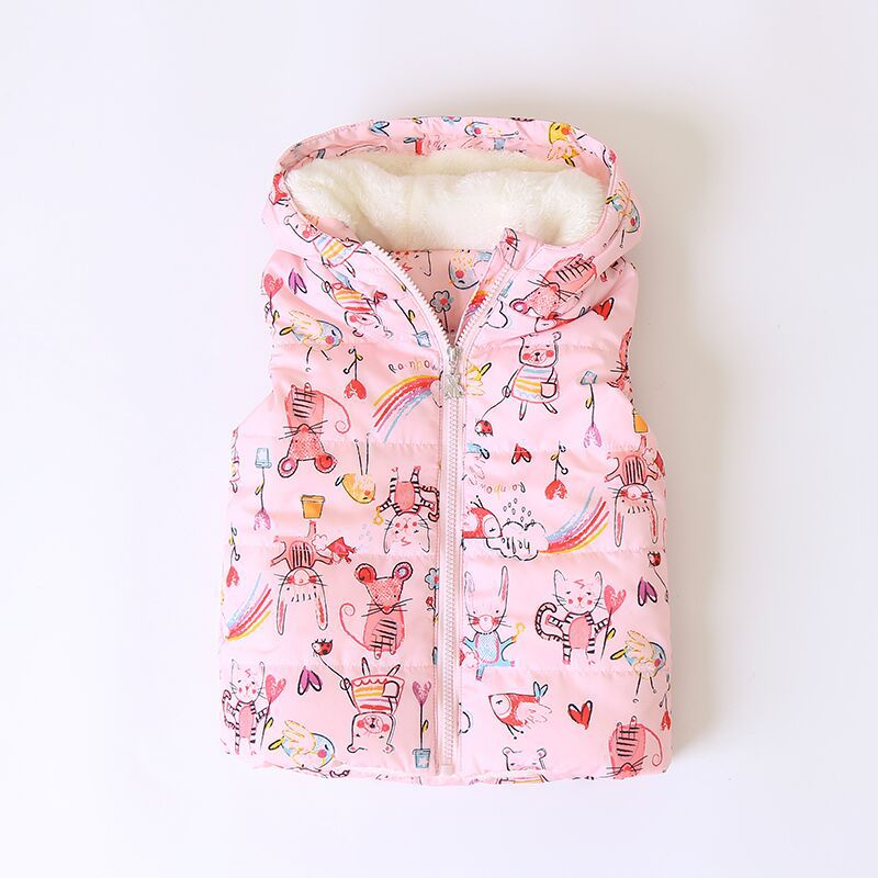 2018 Autumn Girls Vest Warm Cartoon Vest Baby Girls Winter Waistcoat Children Jackets 2-7Y Toddler Girls Clothing Kids Outerwear стоимость