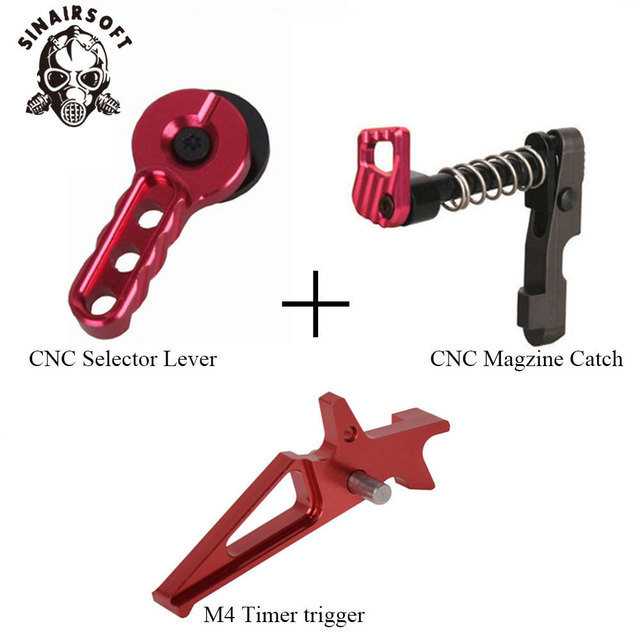 CNC Blue Machined Selector Lever Trigger Magazine Release Catch Suit For AEG M4/M16 Series Paintball Airsoft Hunting Accessories 5