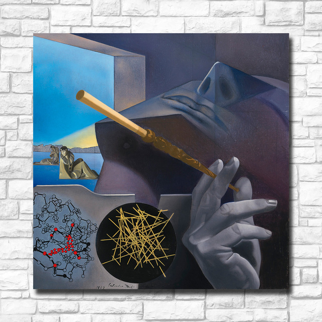 Oil Painting Dali Smoker Pierrot and Columbine Blue Sky For Home Decor On Canvas Modern Wall Art Canvas Print Canvas Painting 1